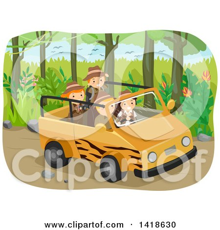 Clipart of a Group of Safari Children in a Savari Vehicle - Royalty Free Vector Illustration by BNP Design Studio