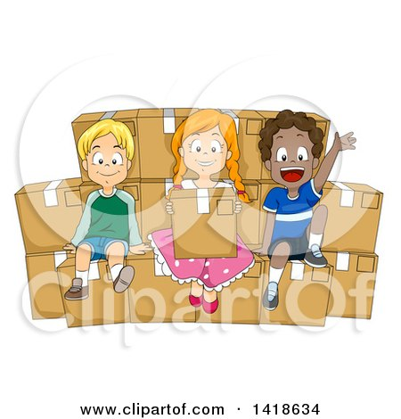 Clipart of a Group of Children Sitting on Boxes of Donations - Royalty Free Vector Illustration by BNP Design Studio