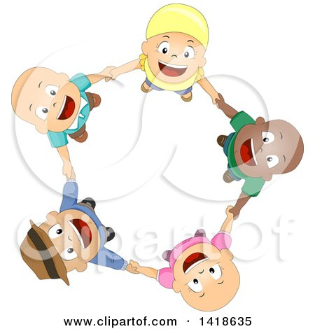 Clipart Of A Circle Of Bald Cancer Patient Children Holding Hands And Looking Up Royalty Free Vector Illustration
