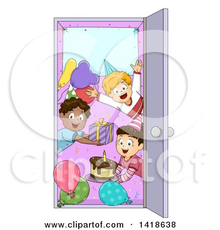 Clipart of a Group of Children Welcoming in a Door at a Surprise Party - Royalty Free Vector Illustration by BNP Design Studio