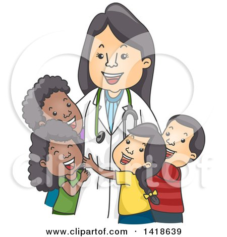 Clipart of a Happy Female Pediatric Doctor with Children - Royalty Free Vector Illustration by BNP Design Studio