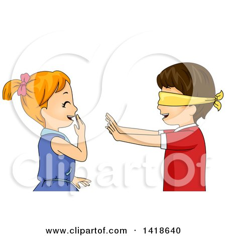 Clipart of a Blindfolded Boy Reaching out to a Giggling Girl - Royalty Free Vector Illustration by BNP Design Studio