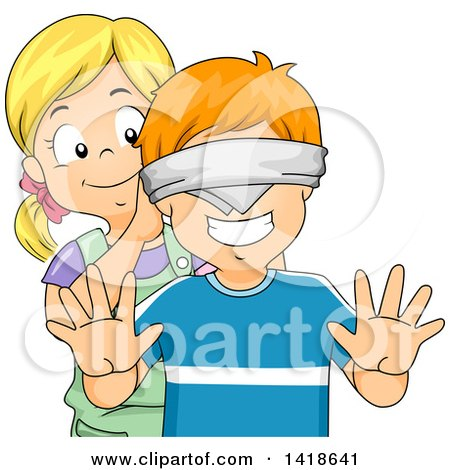 Clipart of a Girl Putting a Blindfold on a Boy - Royalty Free Vector Illustration by BNP Design Studio