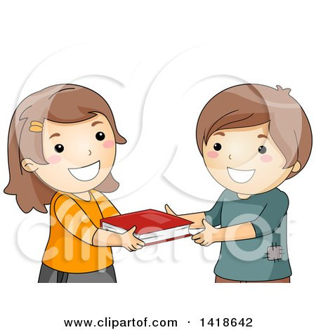 Clipart of a Girl and Boy Exchanging a Book - Royalty Free Vector Illustration by BNP Design Studio