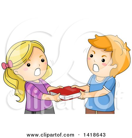 Clipart of a Boy and Girl Fighing over a Book - Royalty Free Vector Illustration by BNP Design Studio