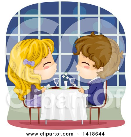 Clipart of a Boy and Girl Having a Romantic Dinner - Royalty Free Vector Illustration by BNP Design Studio