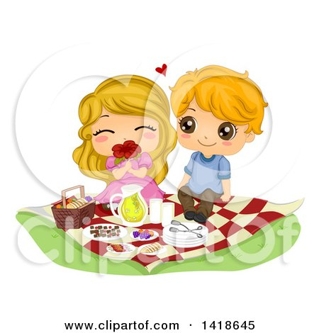 Clipart of a Cute Kid Couple Enjoying a Romantic Picnic - Royalty Free Vector Illustration by BNP Design Studio
