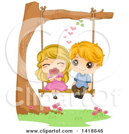 Clipart of a Kid Couple Swining and Smelling a Flower - Royalty Free Vector Illustration by BNP Design Studio