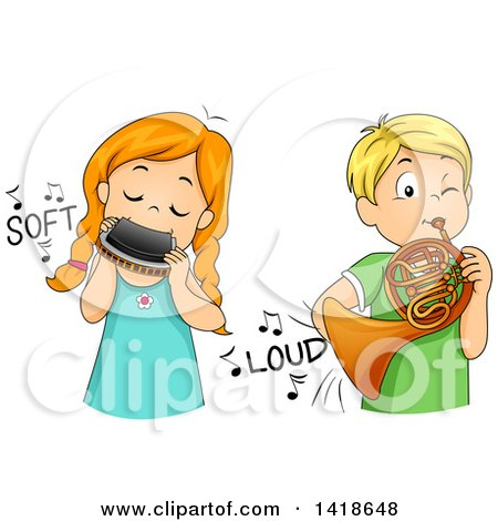 Clipart of a Girl Softly Playing a Harmonica and Boy Playing a French Horn Loudly - Royalty Free Vector Illustration by BNP Design Studio