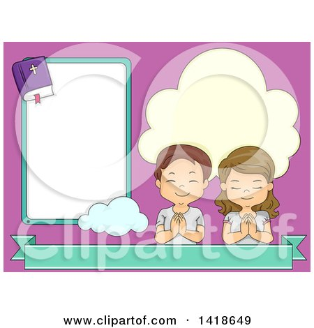 Clipart of a Boy and Girl Praying Next to a Bible Frame - Royalty Free Vector Illustration by BNP Design Studio