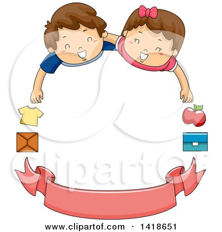 Clipart of Volunteer Children with Donation Items and a Blank Banner, Forming a Frame - Royalty Free Vector Illustration by BNP Design Studio