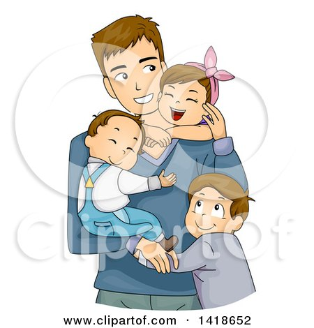 Clipart of a Loving Caucasian Father and His Three Children Hugging - Royalty Free Vector Illustration by BNP Design Studio