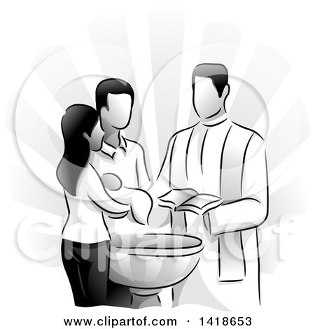 Clipart of a Grayscale Scene of a Priest Baptizing a Child - Royalty Free Vector Illustration by BNP Design Studio