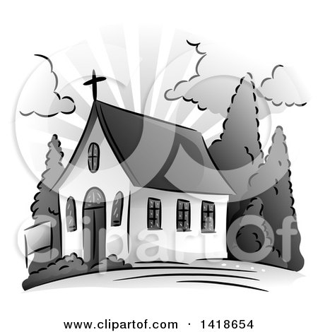 Clipart of a Grayscale Small Church Building - Royalty Free Vector Illustration by BNP Design Studio