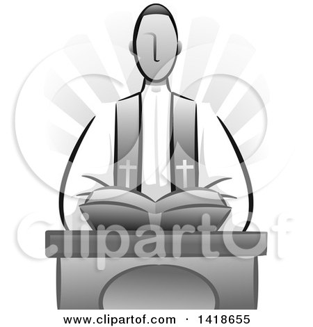 Clipart of a Grayscale Priest Delivering a Sermon - Royalty Free Vector Illustration by BNP Design Studio