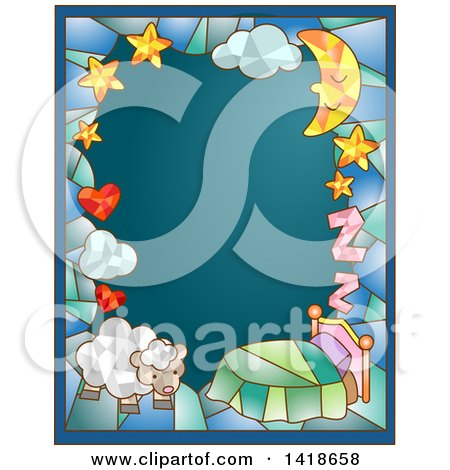 Clipart of a Stained Glass Bedtime and Sheep Frame on Teal - Royalty Free Vector Illustration by BNP Design Studio