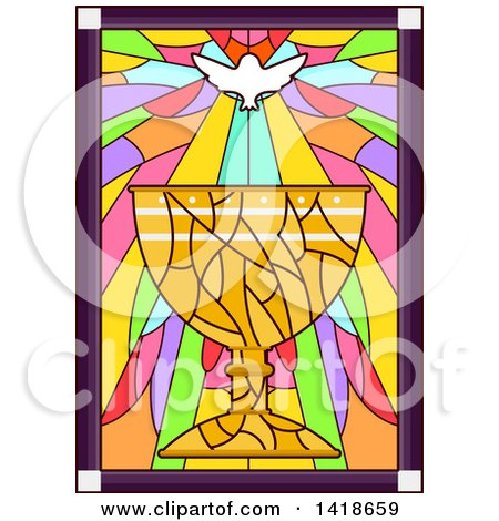 Clipart of a Stained Glass Dove and Chalice Design - Royalty Free Vector Illustration by BNP Design Studio