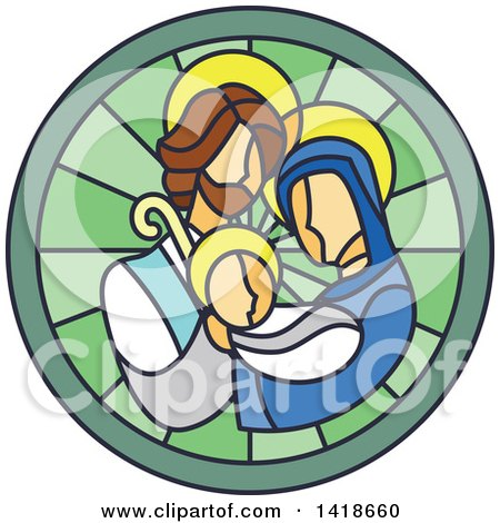 Clipart of a Round Stained Glass Mary Joseph and Baby Jesus Design - Royalty Free Vector Illustration by BNP Design Studio