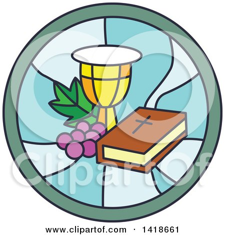 Clipart of a Round Stained Glass Bible Chalice and Graphes Design - Royalty Free Vector Illustration by BNP Design Studio