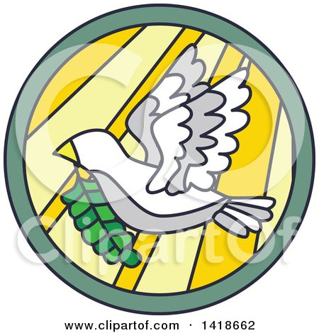 Clipart of a Round Stained Glass Peace Dove Design - Royalty Free Vector Illustration by BNP Design Studio