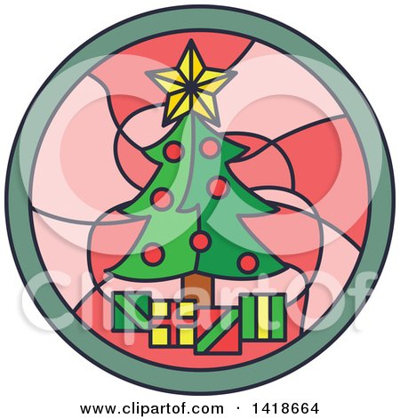 Clipart of a Round Stained Glass Christmas Tree Design - Royalty Free Vector Illustration by BNP Design Studio