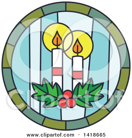 Clipart of a Round Stained Glass Christmas Candles Design - Royalty Free Vector Illustration by BNP Design Studio