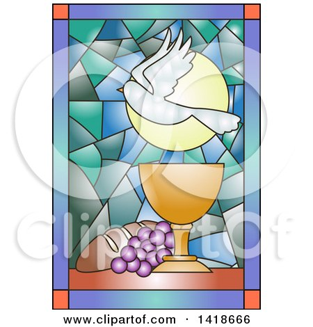 Clipart of a Stained Glass Dove, Chalice, Bread and Grapes Communion Design - Royalty Free Vector Illustration by BNP Design Studio