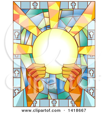 Clipart of a Stained Glass Priest Breaking the Bread Design - Royalty Free Vector Illustration by BNP Design Studio