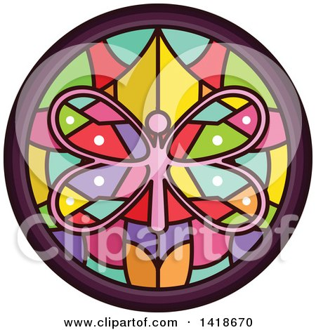 Clipart of a Stained Glass Butterfly Design - Royalty Free Vector Illustration by BNP Design Studio
