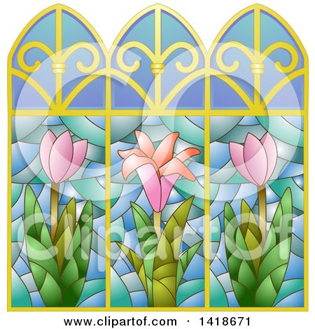 Clipart of a Stained Glass Window Design with Flowers - Royalty Free Vector Illustration by BNP Design Studio