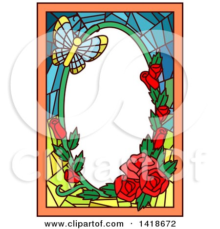Clipart of a Stained Glass Butterfly and Rose Frame Design - Royalty Free Vector Illustration by BNP Design Studio
