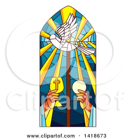 Clipart of a Stained Glass Holy Mass Design - Royalty Free Vector Illustration by BNP Design Studio