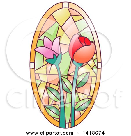 Clipart of a Stained Glass Oval Floral Design - Royalty Free Vector Illustration by BNP Design Studio