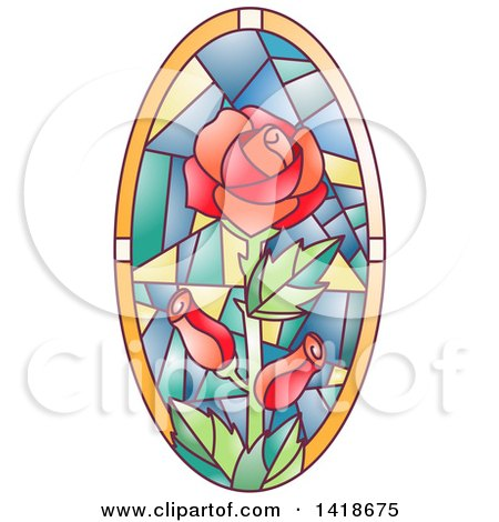 Clipart of a Stained Glass Oval Rose Design - Royalty Free Vector Illustration by BNP Design Studio