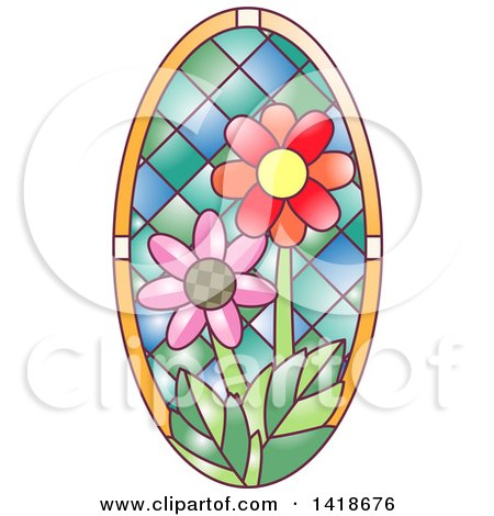 Clipart of a Stained Glass Oval Daisy Design - Royalty Free Vector Illustration by BNP Design Studio