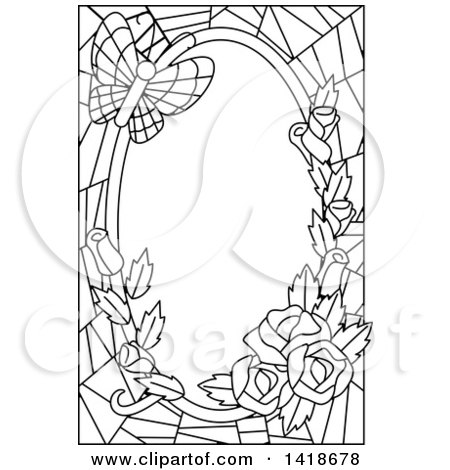 Clipart of a Black and White Lineart Stained Glass Border of Roses and a Butterfly - Royalty Free Vector Illustration by BNP Design Studio