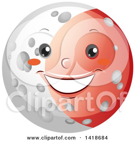 Clipart of a Moon Shown During a Lunar Eclipse - Royalty Free Vector Illustration by BNP Design Studio