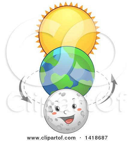 Clipart of Planet Earth Between the Sun and Moon Character - Royalty Free Vector Illustration by BNP Design Studio