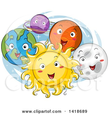 Clipart of a Sketched Sun and Planets of the Solar System Smiling - Royalty Free Vector Illustration by BNP Design Studio