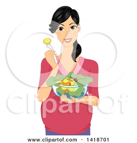 Clipart of a Happy Pregnant Woman Eating a Salad - Royalty Free Vector Illustration by BNP Design Studio