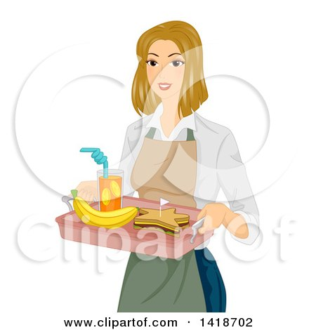 Clipart of a Blond Caucasian Woman Serving a Star Shaped Sandwich Lunch on a Tray - Royalty Free Vector Illustration by BNP Design Studio