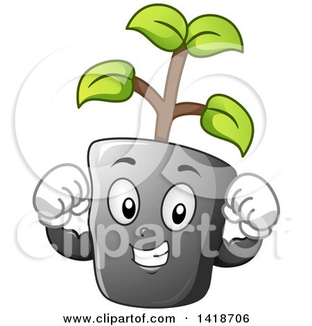 Clipart of a Strong Seedling Plant Mascot Flexing - Royalty Free Vector Illustration by BNP Design Studio