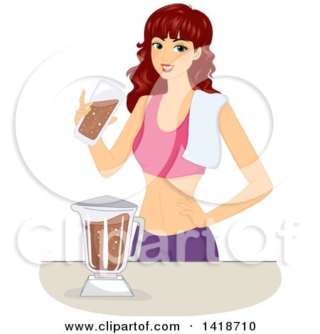 Clipart of a Brunette Caucasian Woman Making a Chocolate Protein Shake - Royalty Free Vector Illustration by BNP Design Studio