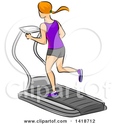 Clipart of a Sketched Red Haired Caucasian Woman Running on a Treadmill - Royalty Free Vector Illustration by BNP Design Studio