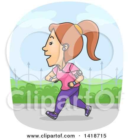 Clipart of a Cartoon Brunette White Woman Jogging and Wearing a Tracker - Royalty Free Vector Illustration by BNP Design Studio