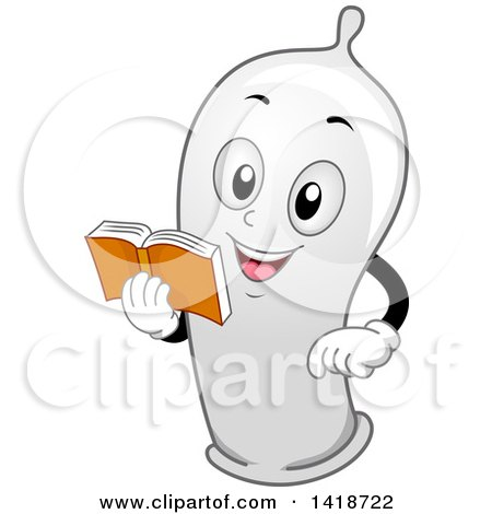 Clipart of a Condom Mascot Reading a Book - Royalty Free Vector Illustration by BNP Design Studio