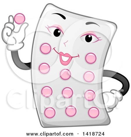 Clipart of a Contraceptive Pill Pack Mascot - Royalty Free Vector Illustration by BNP Design Studio