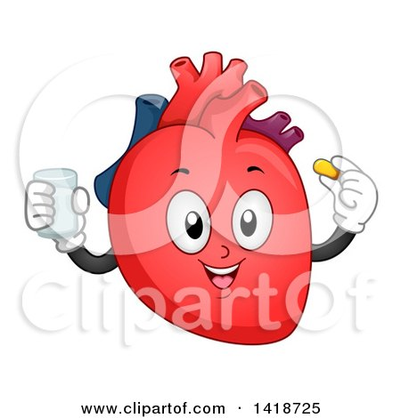 Clipart of a Human Heart Character Taking a Vitamin - Royalty Free Vector Illustration by BNP Design Studio