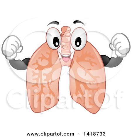 Clipart of a Lung Mascot Flexing - Royalty Free Vector Illustration by BNP Design Studio