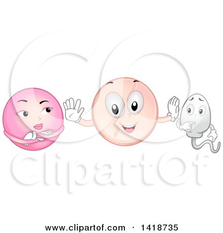 Clipart of a Contraceptive Pill Mascot Between an Egg Cell and Sperm - Royalty Free Vector Illustration by BNP Design Studio